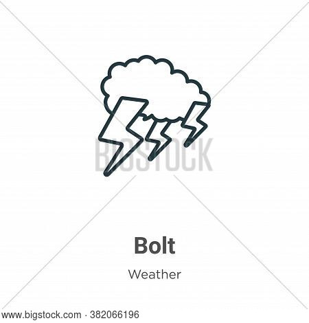 Bolt icon isolated on white background from weather collection. Bolt icon trendy and modern Bolt sym
