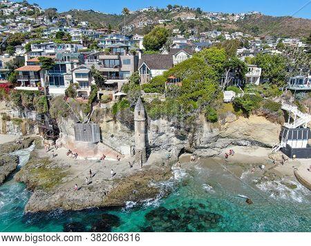 The Pirates Tower At Victoria Beach In Laguna Beach, South California, Usa, August 22nd, 2020