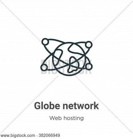 Globe network icon isolated on white background from web hosting collection. Globe network icon tren