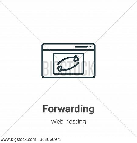 Forwarding icon isolated on white background from web hosting collection. Forwarding icon trendy and