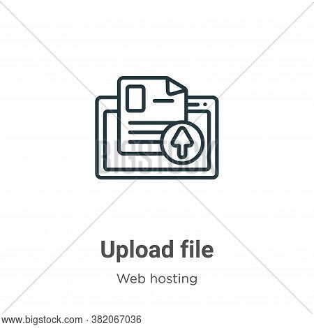 Upload file icon isolated on white background from web hosting collection. Upload file icon trendy a