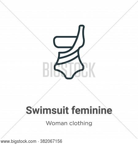 Swimsuit feminine icon isolated on white background from woman clothing collection. Swimsuit feminin