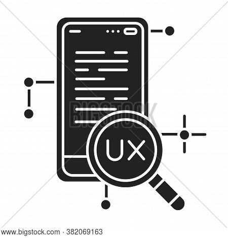 Ux Research Black Glyph Icon. Systematic Investigation Of Users And Their Requirements, In Order To