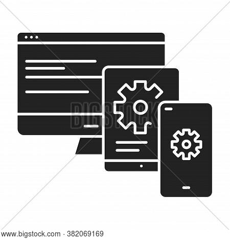 Cross Platform App Black Glyph Icon. Refers To The Development Of Mobile Apps That Can Be Used On Mu