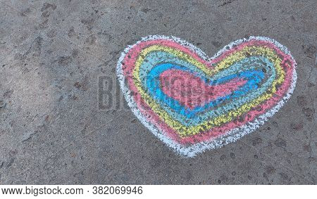 Rainbow Heart Drawn With Chalk On The Asphalt. Love Confession. Banner Place For Text, Valentine, Ch