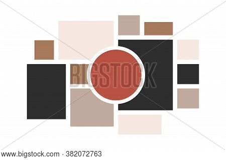 Moodboard Layout. Photo Frames Mosaic Minimalist Template, Collage Grid Arrangement For Presentation