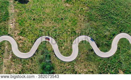 a curvy road top view
