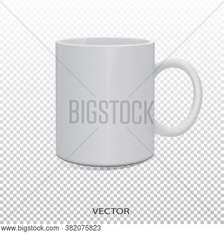 Mockup Mug Is White. Mockup Mug Isolated Vector. Mockup White Mug