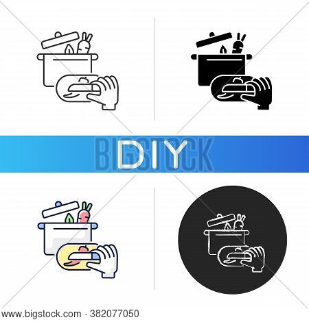 Diy Cooking Black Glyph Icon. Homemade Food Recipe. Prepare Vegetarian Soup. Broth For Lunch With Ve
