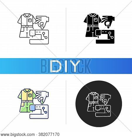 Diy Fashion Black Glyph Icon. Handmade Outfit. Create Clothes With Sewing Machine. Handicraft Textil