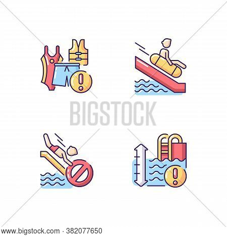 Water Park Rules And Restrictions Rgb Color Icons Set. Waterslide Riding Rules, Water Depth Warning