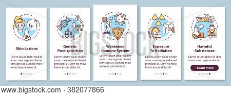 Skin Cancer Risk Factors Onboarding Mobile App Page Screen With Concepts. Weakened Immune System. Sk