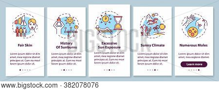 Skin Cancer Risk Factors Onboarding Mobile App Page Screen With Concepts. Numerous Moles. Sunny Clim