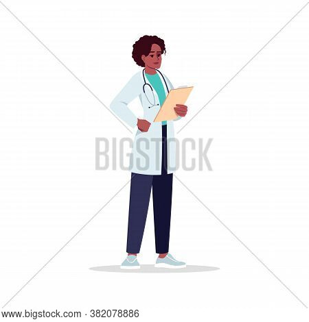 General Practitioner Semi Flat Rgb Color Vector Illustration. Medical Staff. Young African American