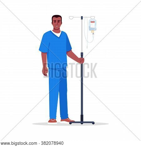 Male Nurse Semi Flat Rgb Color Vector Illustration. Hospital Personnel. Male Medical Worker. Young A