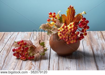 Autumn Viburnum In Clay Pot On Wooden Background