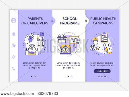 Comprehensive Sex Education Onboarding Vector Template. Parents And Caregivers. School Programs. Res