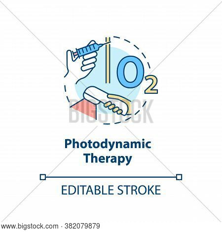 Photodynamic Therapy Concept Icon. Phototherapy. Destroying Abnormal Cells With Light. Photosensitiz