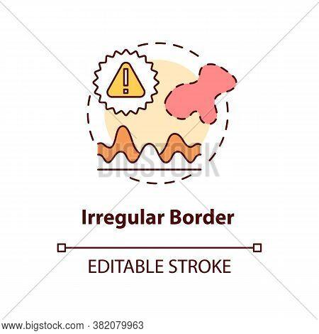 Irregular Border Concept Icon. Scalloped Mole Borders. Skin Check. Melanoma Symptoms And Signs Idea