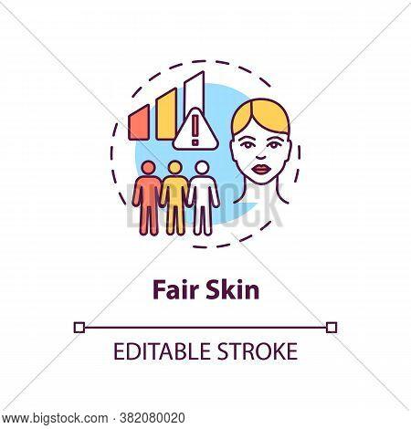 Fair Skin Concept Icon. Epidermis. Melanoma Risk Factors. Ultraviolet Radiation. Light Skin Idea Thi