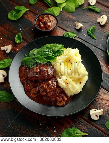 Salisbury Steak With Mushroom Gravy, Mashed Potatoes And Spinach