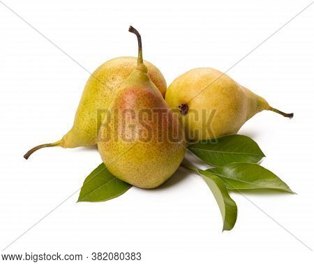 Three Ripe Pears With Green Leaf On White Background