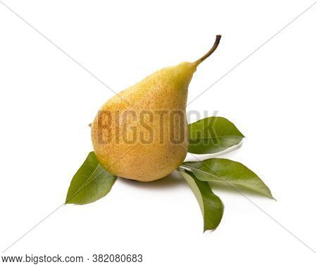One Ripe Pear With Green Leaf On White Background