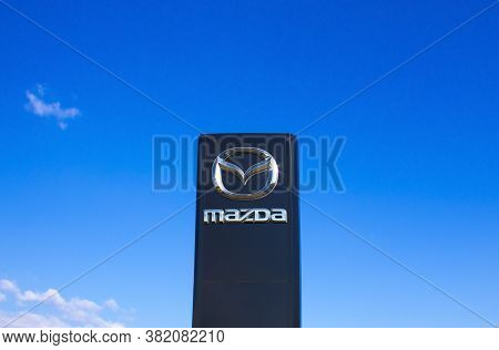 Kyiv, Ukraine - August 15, 2020: Retail Of Mazda Logo On Store Front, Mazda Is A Japanese Brand Mult