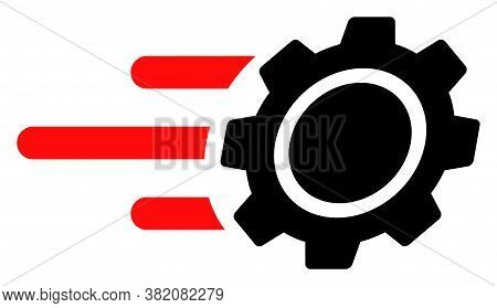 Rush Gear Icon On A White Background. Isolated Rush Gear Symbol With Flat Style.