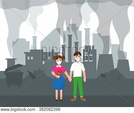 Air Pollution Problem In Big City. Two Children And Silhouette Of Modern City With Skyscrapers, Fact