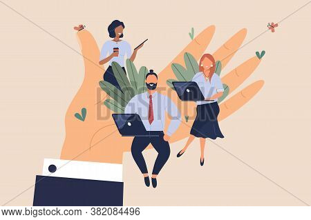 Tiny Office Workers Sitting On Huge Hand. Concept Of Good Comfortable Environment At Work, Favorable