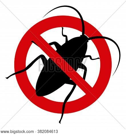 Stop Cockroach Icon On A White Background. Isolated Stop Cockroach Symbol With Flat Style.