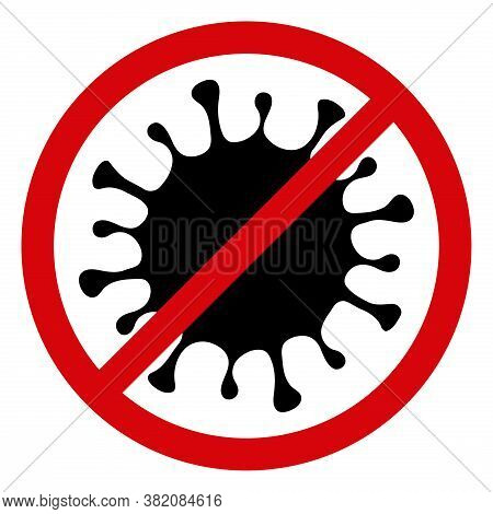 Stop Microbe Icon On A White Background. Isolated Stop Microbe Symbol With Flat Style.