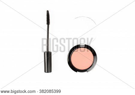 Set Of Makeup Professional Products Flat Lay Isolated On White Background Top View With Copy Space.