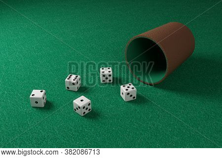 Dice And Dice Cup On A Green Cloth. 3d Illustration.