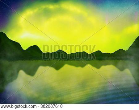 Aurora Borealis Beautiful Polar Lights In The Mountains By The Lake Illustration. Aurora Blue Sky An