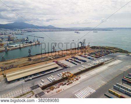 Thessaloniki, Greece - August 16 2020: Aerial Drone Landscape View Of City Port Area. Day Top Panora