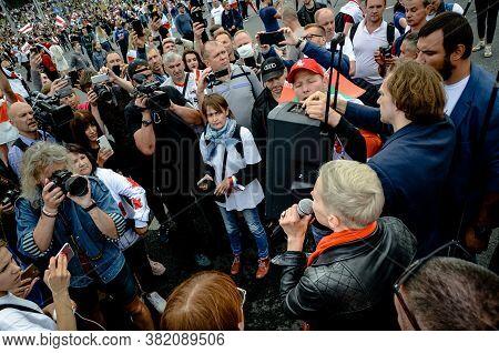Minsk, Belarus - August 23, 2020: Maria Kolesnikova Calls For Peaceful Protest. Belarusian People Pa