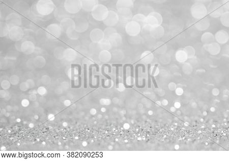 Abstract Light Grey ,sliver Color De Focused Circular Background. Night Light Or Season Greeting Bac