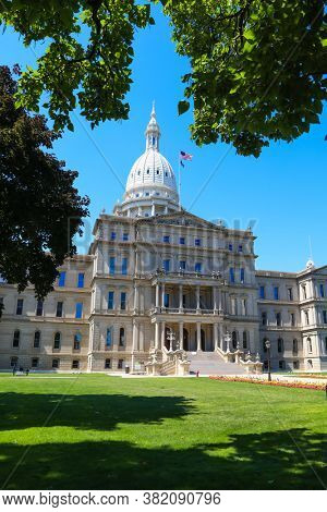 EAST LANSING, MI -22 AUGUST 2020-  The Michigan State Capitol is the building that houses the legislative branch of the government of the U.S. state of Michigan