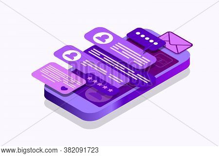 Isometric Concept With Mobile Phone And Chat. Chatting Sending And Receiving Messages And Sms. Onlin