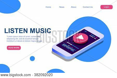 Modern Vector 3d Isometric Illustration. Cover Concept For Web Site Or Mobile Music Site, Applicatio