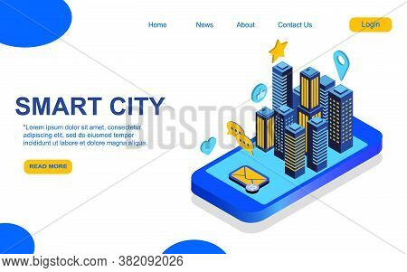 Modern Flat Design Isometric Concept Of Smart City For Website And Mobile Website. Landing Page Temp