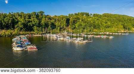 Morgantown, Wv - 20 August 2020: Aerial View Of Boats Docked In Edgewater Marina On Cheat Lake Near