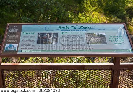 Mesa Falls Scenic Byway, Idaho / Usa - July 20, 2014:  A Sign Showing Information About The Rocks In