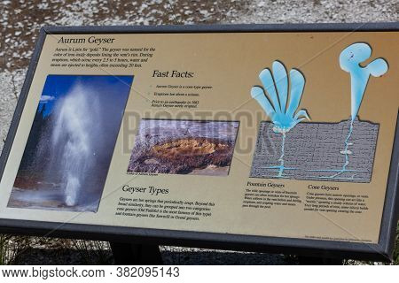 Yellowstone National Park, Wyoming / Usa - July 22, 2014:  A Metal Sign Displaying Information About