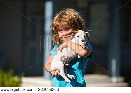 Hug Friends, Kid Hugging Dog. Happy Child And Puppy Hugs With Tenderness Smiling
