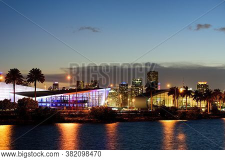 Miami Port Miami Florida. City Of Miami, Night Panorama Of Port Miami Florida