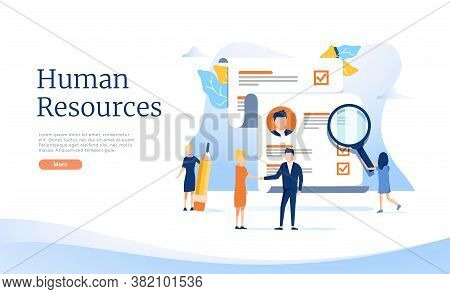 Recruitment Web Banner Concept Set. Job Interview And Human Resources Manager. Employment And Labor.