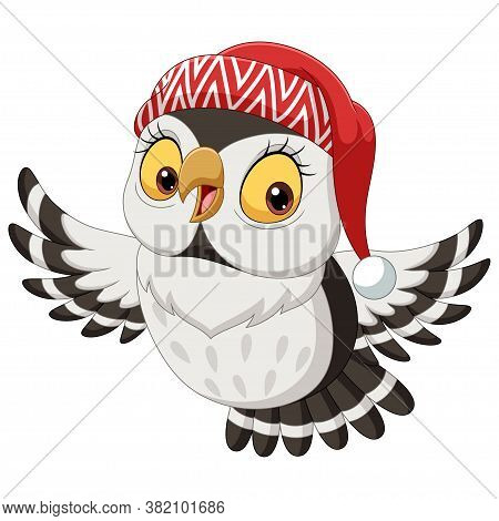 Vector Illustration Of Cartoon Owl Wearing A Christmas Hat